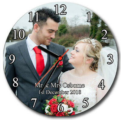 Personalised glass photo wall clock. Valentines, Mother's Day, Anniversary