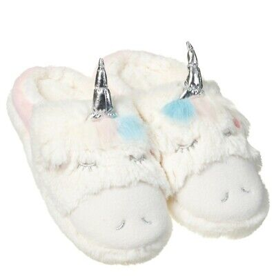 Ladies/Girls Unicorn Mule Indoor Slippers Super Soft Childrens Fluffy Rainbow