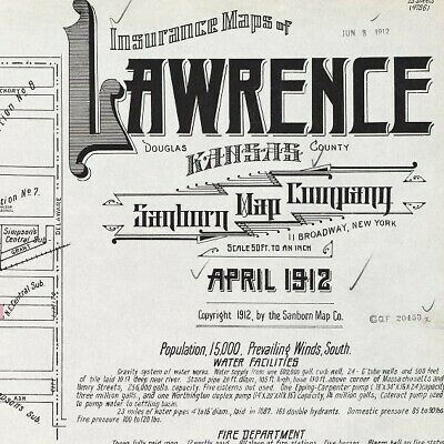 Lawrence, Kansas~Sanborn Map© sheets~ with 23 maps on a CD~1912 edition COLOR