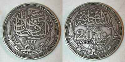 1916 Egypt Crown Size Silver Coin 20 Piastres Sultan Hussein Kamel Toned XF+