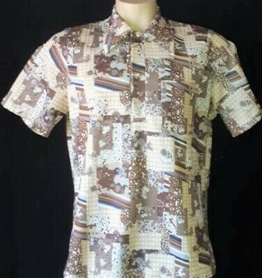 1970's polyester short sleeve disco polo shirt, USA import, size L-XL