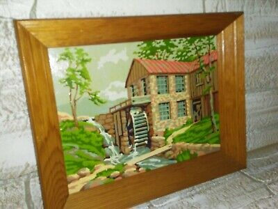 """Vintage Paint By Number Completed Landscape Cabin Painting 17"""" x 13"""" Framed"""