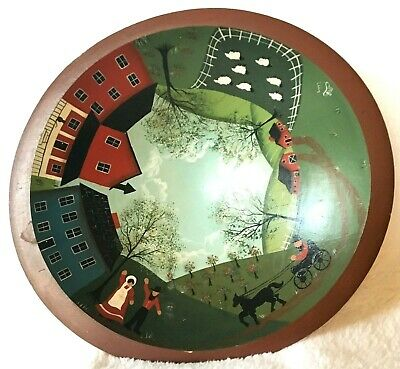 Vintage Wood Bowl Folk Art Amish Scenes Hand Painted Signed And Dated 1986