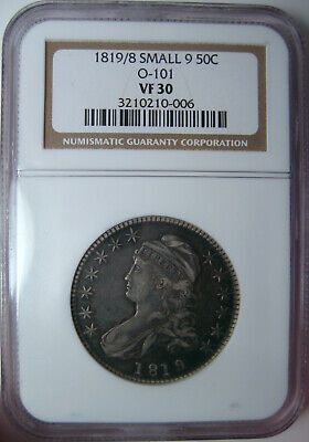 1819/8 Small 9 O-101 Capped Bust Half Dollar~Ngc Vf30~Better Scarce Example *