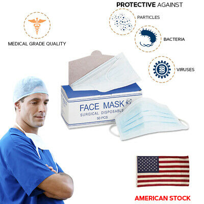 2x 50 COUNT Disposable Face Mask Medical Surgical Earloop 3-ply Flu Coronavirus
