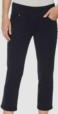 $195 Jag Jeans Women's Blue Stretch High-Rise Pull-On Straight-Leg Crop Pants 8