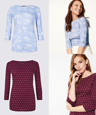 M&S Marks Spencer MS Cotton Slash Neck 3/4 Sleeve Floral Blouse T Shirt Top Tee