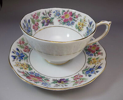 Roslyn English Tea Cup and Saucer Set Flowers Bone China Pink Blue Purple