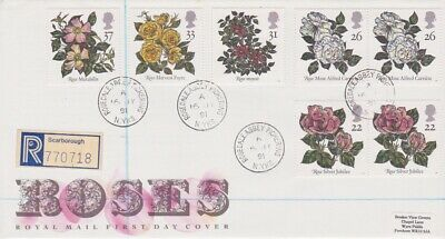 Gb First Day Cover 1991 Roses Rosedale Abbey Pickering Cds Rares Collection