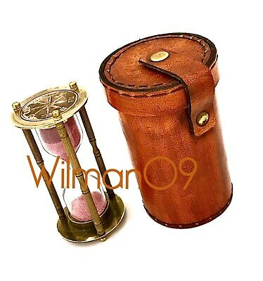 Brass Sand Glass Hourglass Clock Timer Home Decoration with Leather BOX