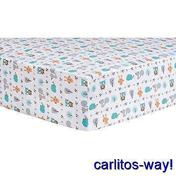 Trend Lab Flannel Fitted Crib Sheet FOREST BABIES Print Cotton 100%