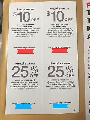 Macy's Star Pass Offer/ Coupons $10off $30 25% off exp.5/10/20 X2