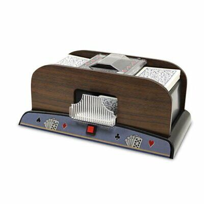 2 Deck Automatic Deck Shuffler - Deluxe Electric Wooden Playing Card Machine -