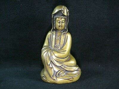 Vintage Bronze Quan Yin Statue Goddess Of Mercy