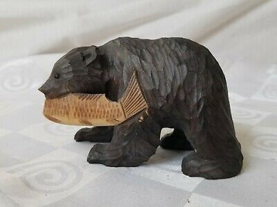 Vintage German Black Forest Carved Wood Black Bear With Fish in Mouth