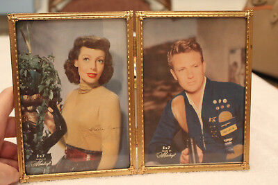 Reduced Free Ship!NEW Vintage Metacraft Gold Tone Art Deco - Dbl PicFrame 1950s