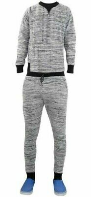 Mens Tracksuit Bottoms Trousers Contrasted Round Neck Pullover Hoodie Set Top