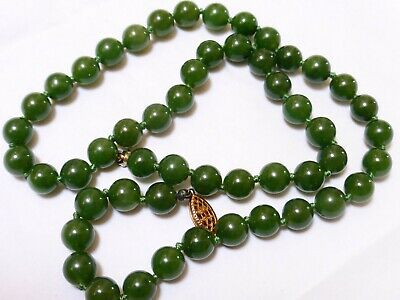 CHINESE Dark Green JADE BEAD NECKLACE, Silver Clasp