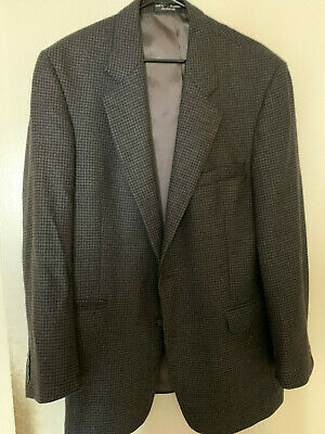 Gianfranco Ruffini Tweed Blazer Mens 42L LambsWool Brown Herringbone Sport Coat