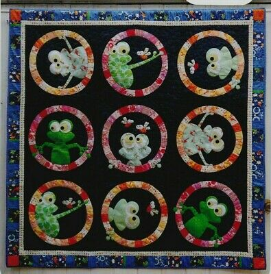 FrogFace - fun applique & pieced quilt PATTERN - Claire Turpin