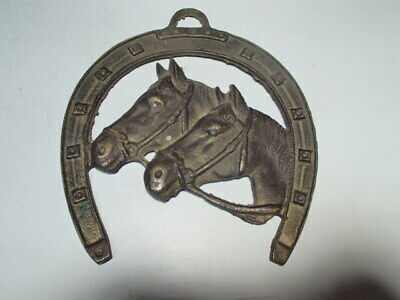 Brass Horse Heads Horseshoe Hanging Wall Plaque Western Cowboy