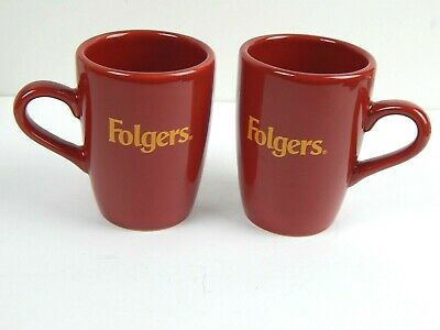 Lot Of 2 Folgers Coffee Mugs / Cups Red Houston Harvest
