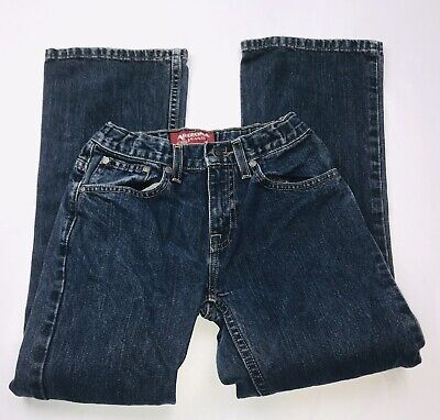 AriZona Jean Co Boys Denim Original Bootcut Jeans Adjustable Sz 12 Slim Blue