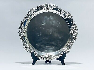 Stunning Rare Antique 1808 Sheffield 12 Inches Grapes Pattern Silver Plated Tray