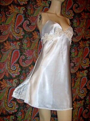 Victoria's Secret Ivory White Satin Lacy Sequin Mini Nightgown Nighty Lingerie M