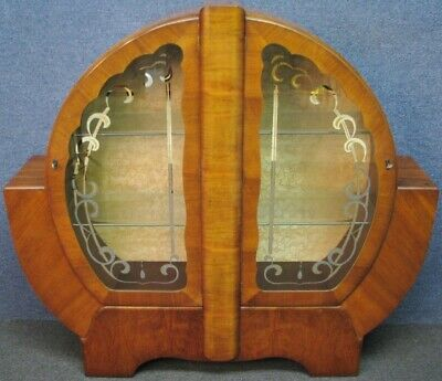 1930s Art Deco Figured Walnut Arched Top 2 Door Display Cabinet