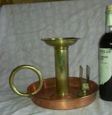 Large Antique Victorian Farris UK Copper Brass Church Candlestick Chamberstick