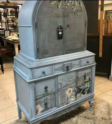 antique armoire blue painted dresser reconditioned French floral grey