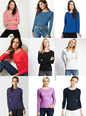 M&S Marks Spencer MS Ladies Women ROUND Neck Long Sleeve T Shirt Blouse Top 8-24