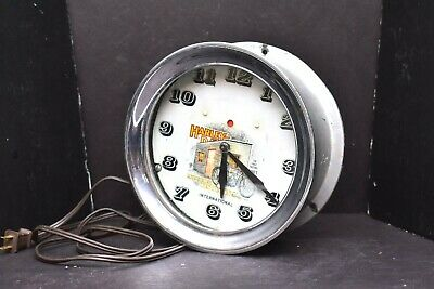 Vintage 1930s Telechron Harley Davidson Shop Wall Clock Round electric antique