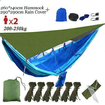 Double Mosquito Net Hammock Tent Outdoor Camping Hanging Bed+Rain Fly Tarp  2