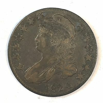 1824/4  0-110 Bust Half Dollar - Nice Original -  High Quality Scans #D112