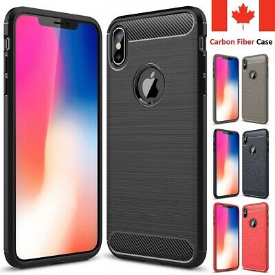 For iPhone XR X XS Max Case - Carbon Fiber Shockproof Soft Back Cover