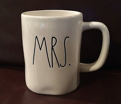 Rae Dunn MRS. coffee  tea mug off white ceramic replacement  - Small Chip On Rim