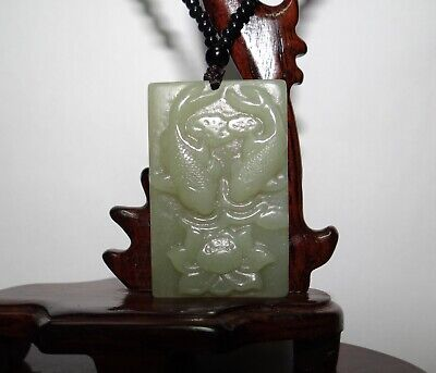 """1.8"""" China Certified Nature Hetian Nephrite Jade Pisces and Lotus Necklace 5233"""