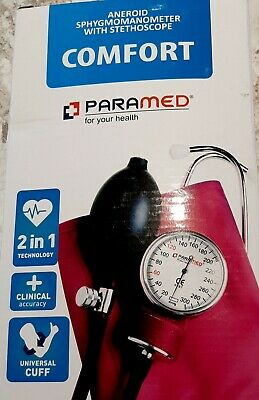 Paramed Aneroid Sphygmomanometer with Stethoscope Blood Pressure Cuff Heart Rate