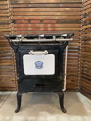 Antique Garland Gas Stove 3 Burner Cook Top Cast Iron Porcelain Covered Door