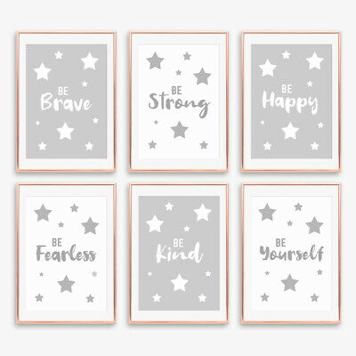 Monochrome Quote Grey Nursery Prints Decor Childrens Boys Girls Bedroom Pictures