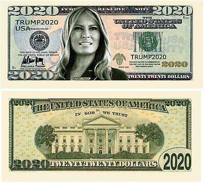 Pack Of 5 - Melania Trump 2020 Re-Election Presidential Dollar Bill - Limited Ed