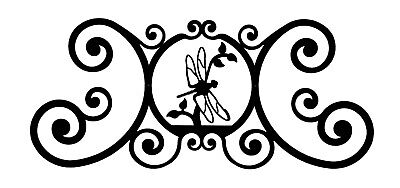 Large Scrolled Wrought Iron Black House Plaque with A Z Initial in Center
