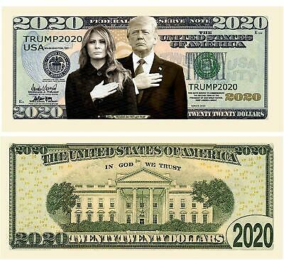 Pack Of 10 - Donald And Melania Trump 2020 Re-Election Presidential Dollar Bill