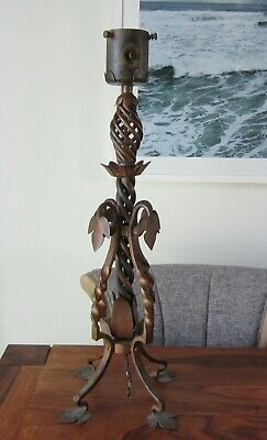 Antique Arts And Crafts Hand Forged Solid Copper Light 23 Inches Tall