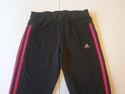 Adidas Climalite Cropped Trousers Black Pink Age 11-12 Excellent Condition