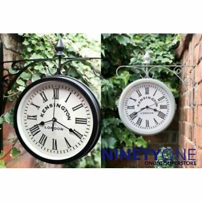 Outdoor Wall Mounted Station Clock Railway Garden Decoration Hanging Battery Ope
