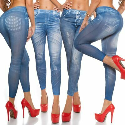 Jeans Look Leggings Rip Effect Skinny Slim Fit Denim Jeggings One Size UK 6-10