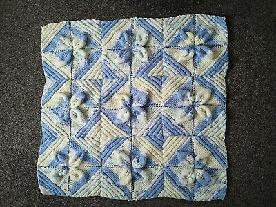 Hand-knitted small baby blanket, blue in colour, approx. 22 inches square